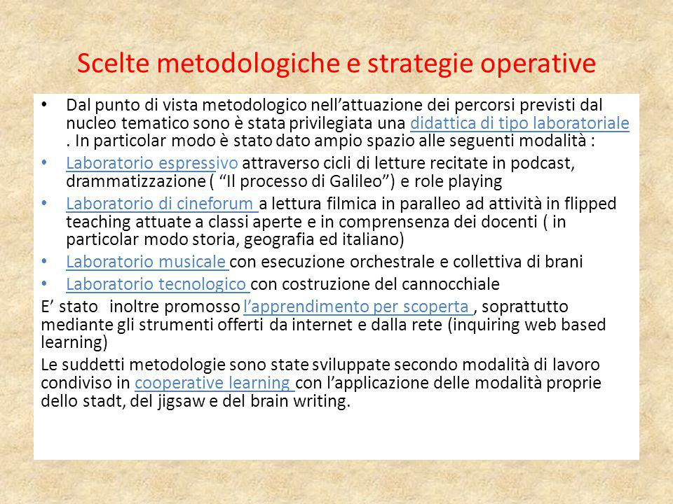 Scelte metodologiche e strategie operative