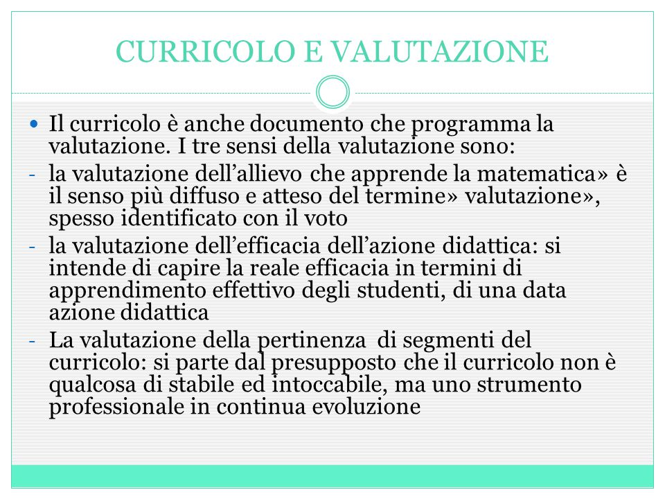 CURRICOLO E VALUTAZIONE