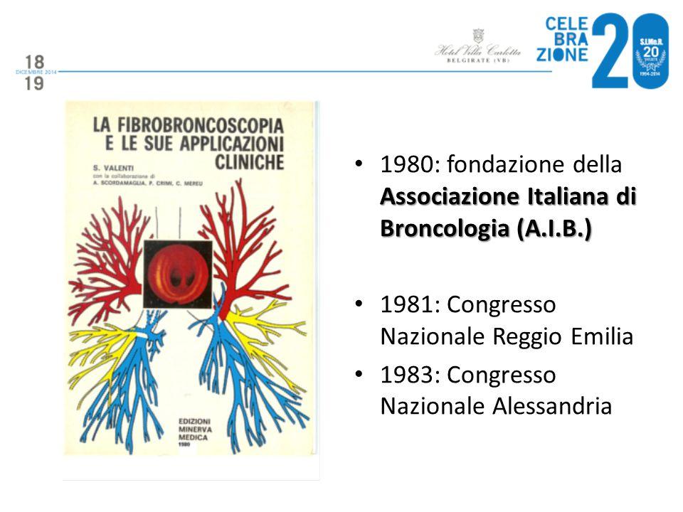 1980: fondazione della Associazione Italiana di Broncologia (A.I.B.)