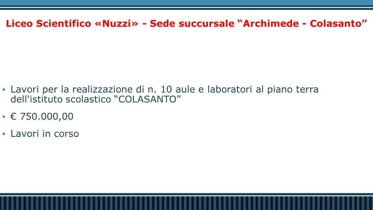 Liceo Scientifico «Nuzzi» - Sede succursale Archimede - Colasanto