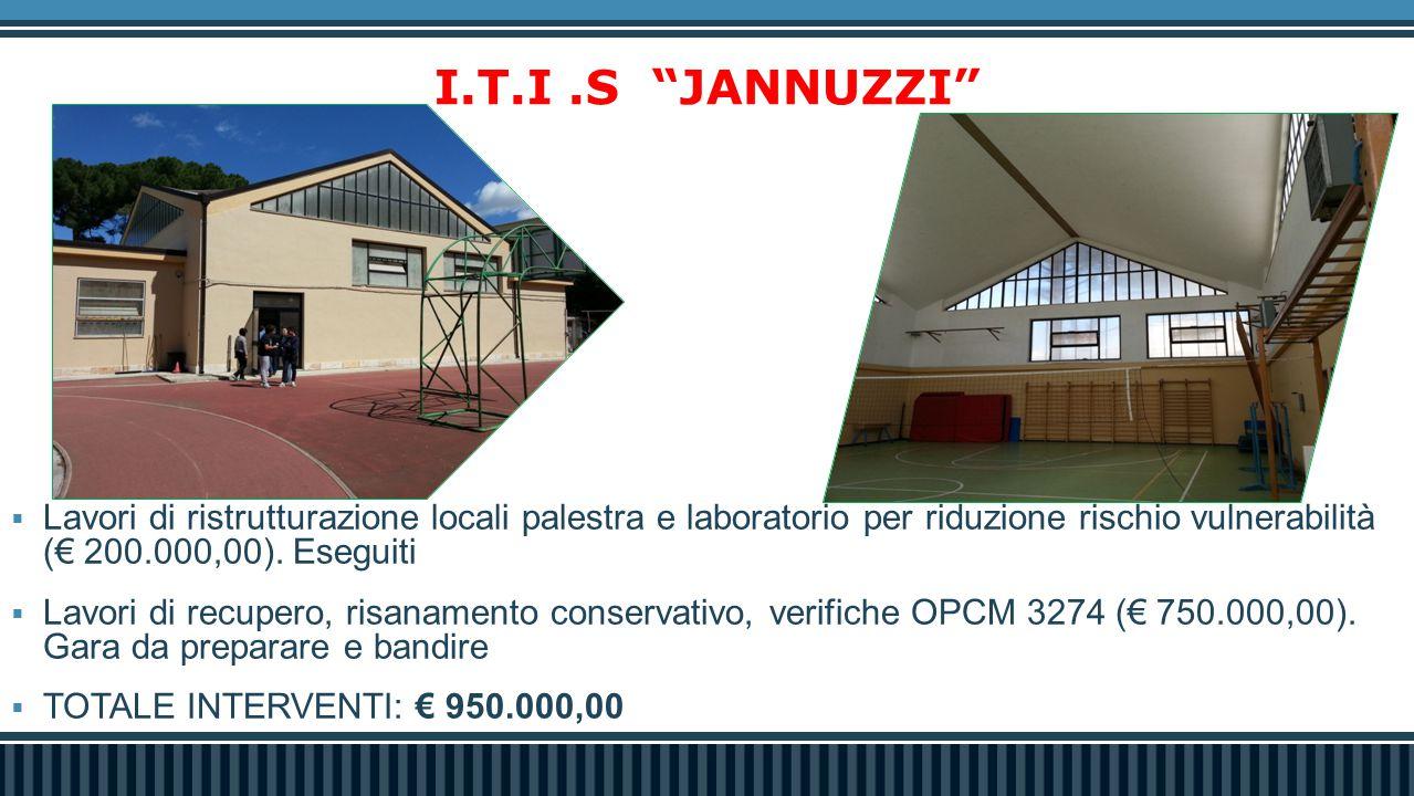 I.T.I .S JANNUZZI Lavori di ristrutturazione locali palestra e laboratorio per riduzione rischio vulnerabilità (€ 200.000,00). Eseguiti.