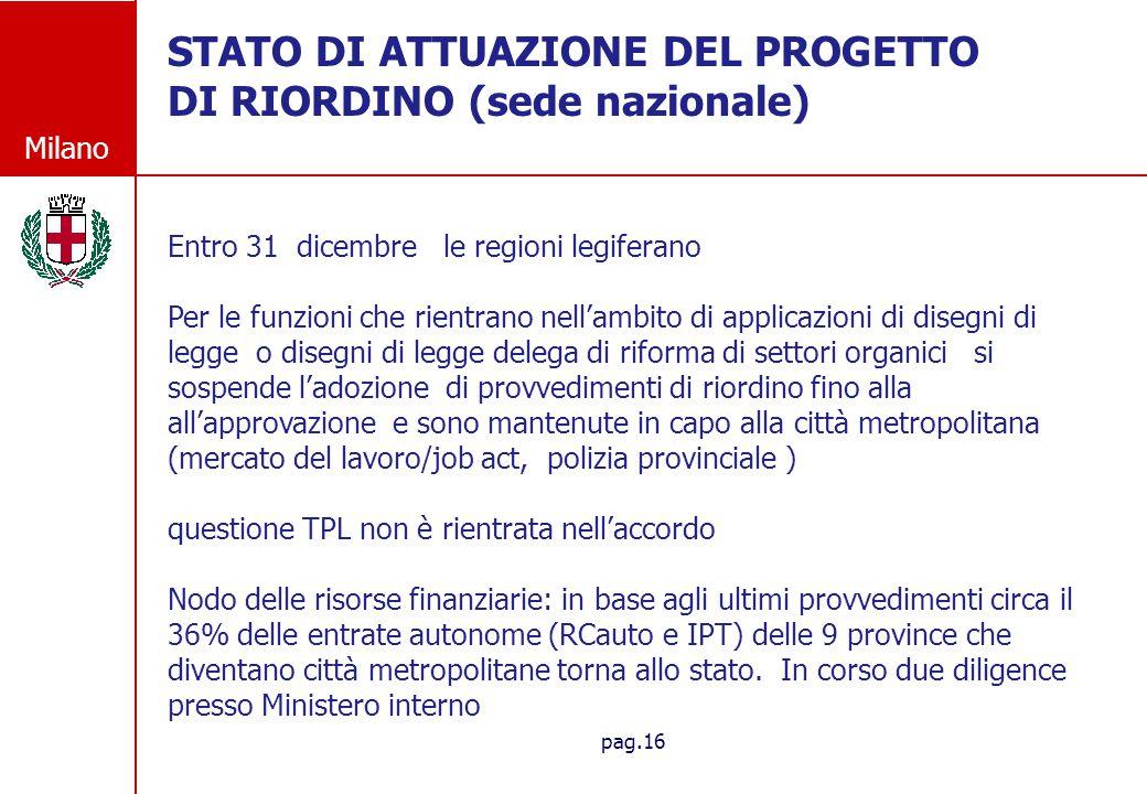 STATO DI ATTUAZIONE DEL PROGETTO DI RIORDINO (sede nazionale)