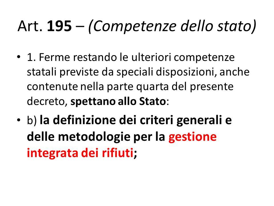 Art. 195 – (Competenze dello stato)
