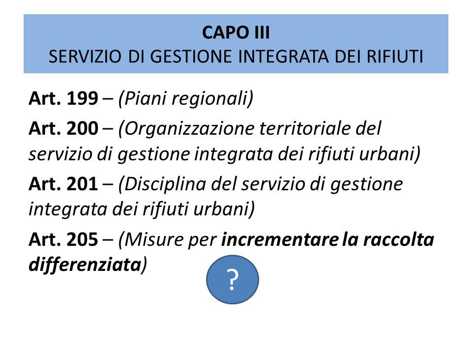 CAPO III SERVIZIO DI GESTIONE INTEGRATA DEI RIFIUTI