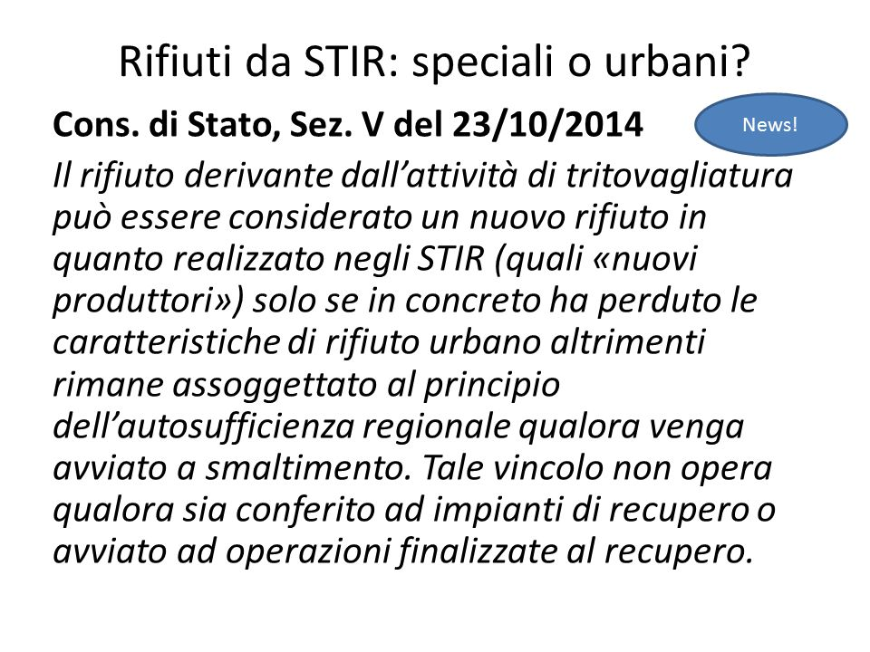 Rifiuti da STIR: speciali o urbani