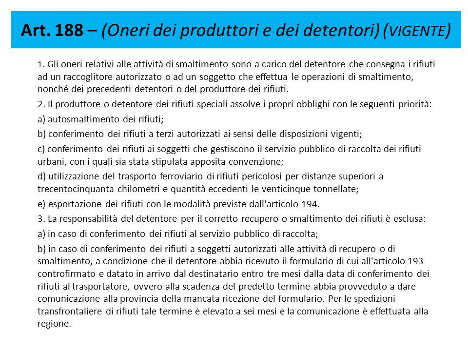 Art. 188 – (Oneri dei produttori e dei detentori) (VIGENTE)