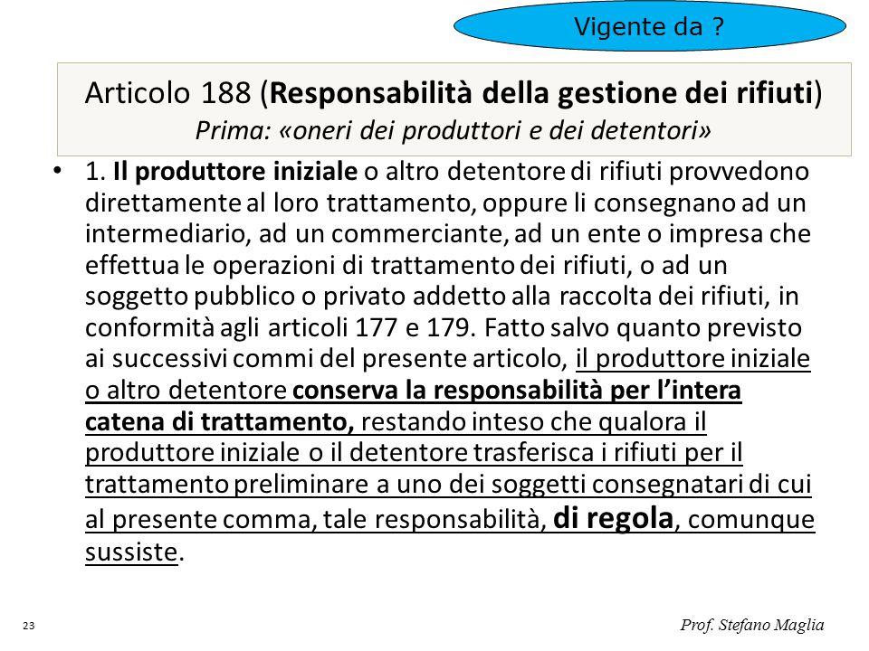Vigente da Articolo 188 (Responsabilità della gestione dei rifiuti) Prima: «oneri dei produttori e dei detentori»