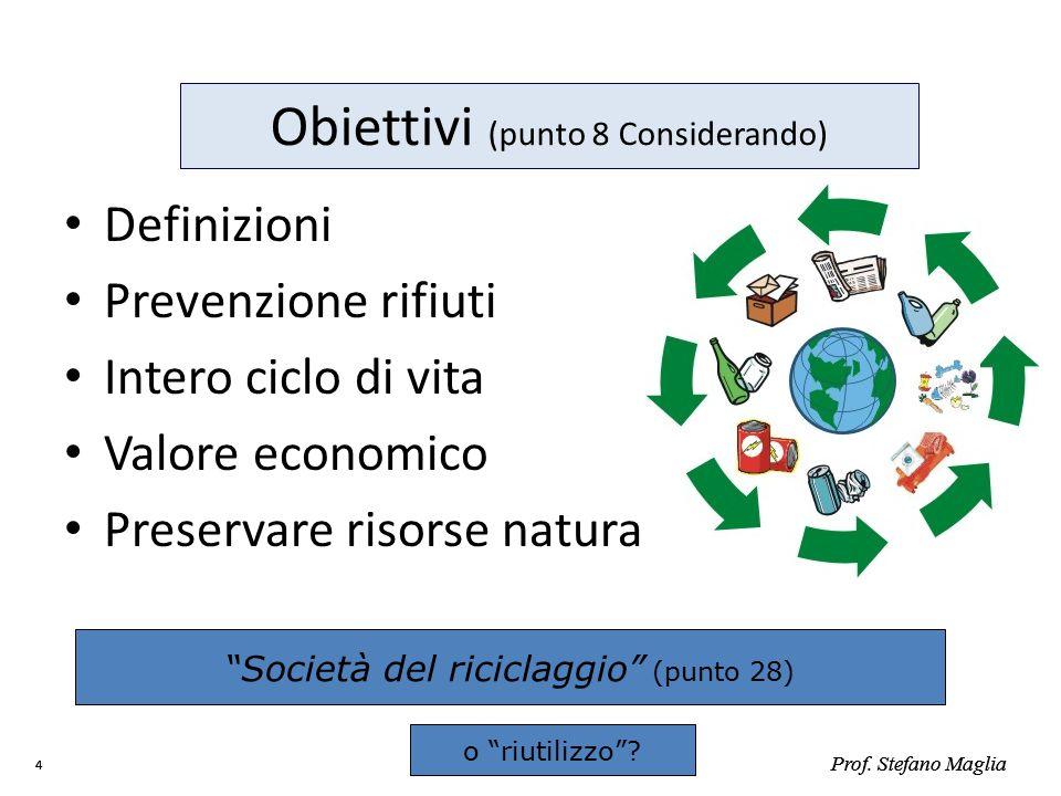 Obiettivi (punto 8 Considerando)