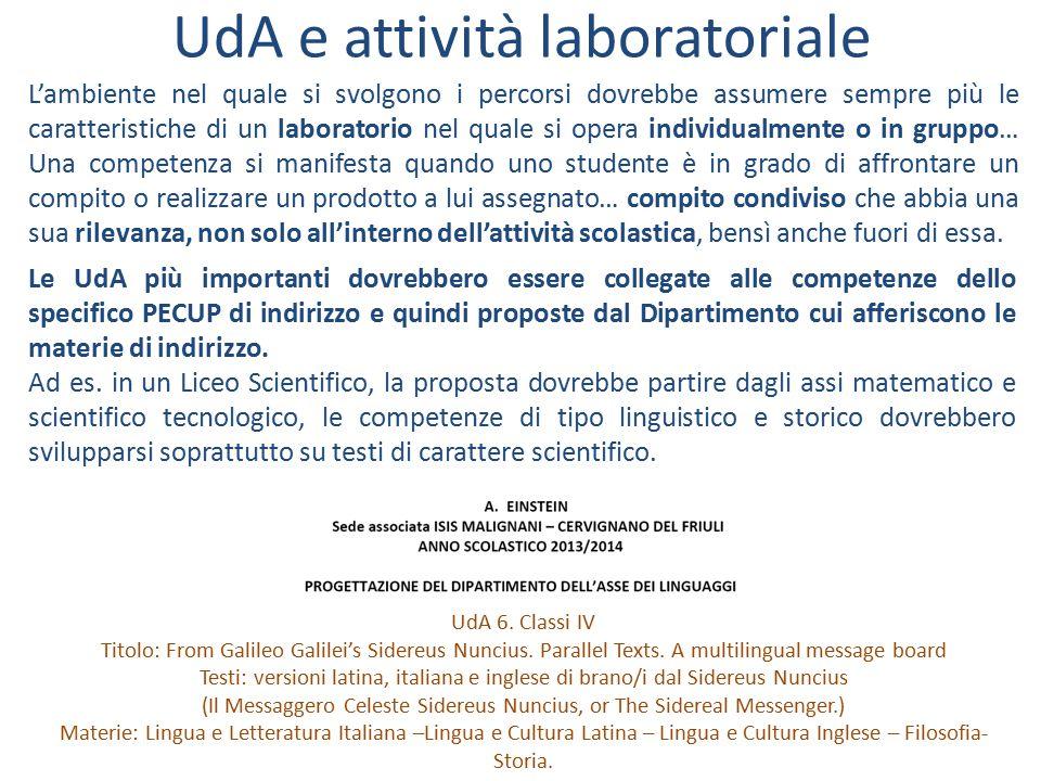 UdA e attività laboratoriale