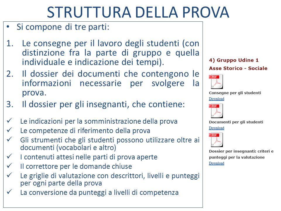 STRUTTURA DELLA PROVA Si compone di tre parti: