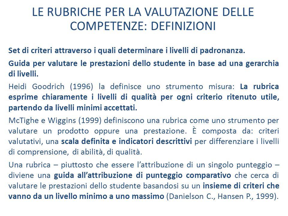 LE RUBRICHE PER LA VALUTAZIONE DELLE COMPETENZE: DEFINIZIONI