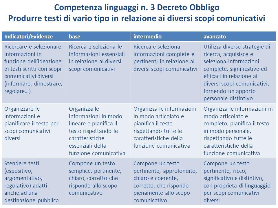 Competenza linguaggi n. 3 Decreto Obbligo