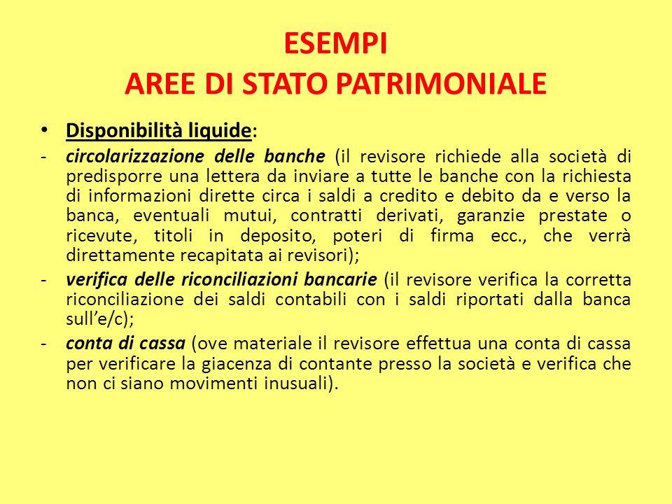 ESEMPI AREE DI STATO PATRIMONIALE