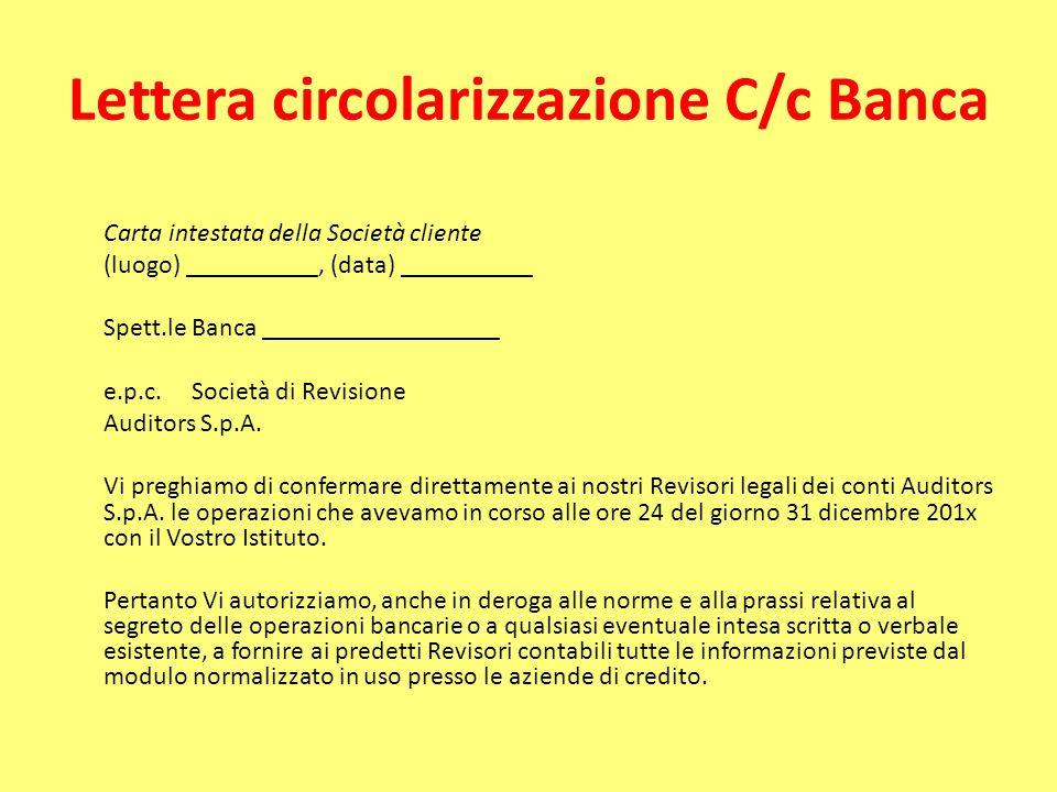 Lettera circolarizzazione C/c Banca