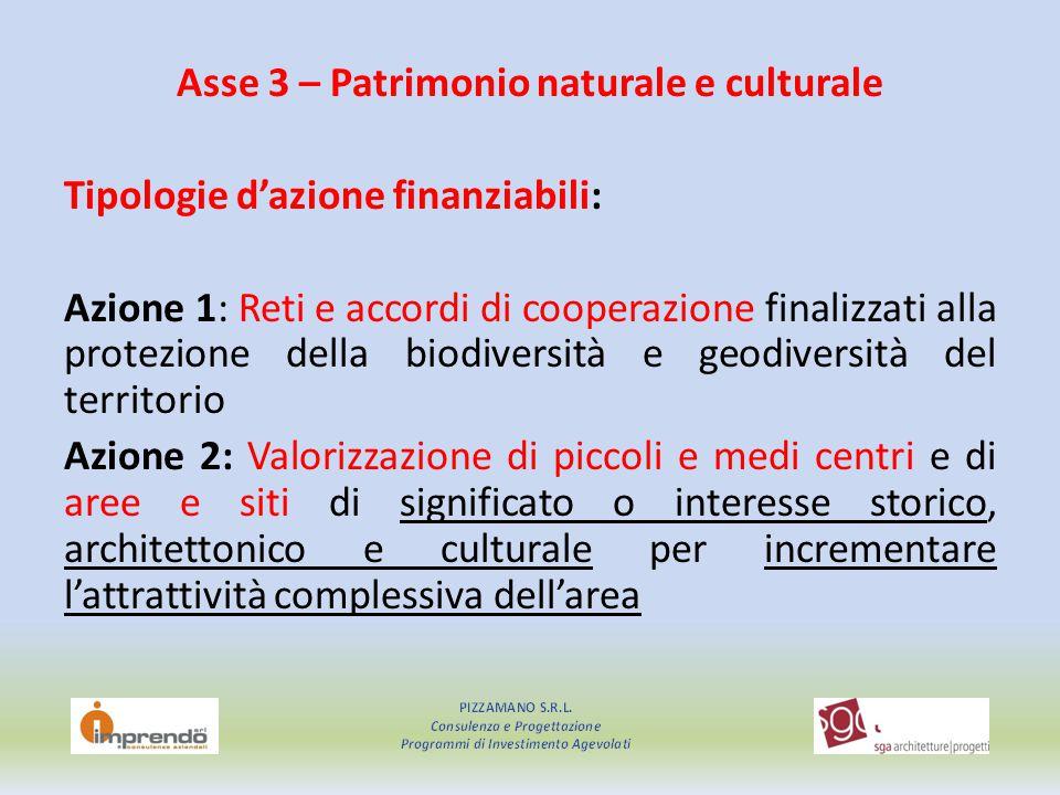 Asse 3 – Patrimonio naturale e culturale