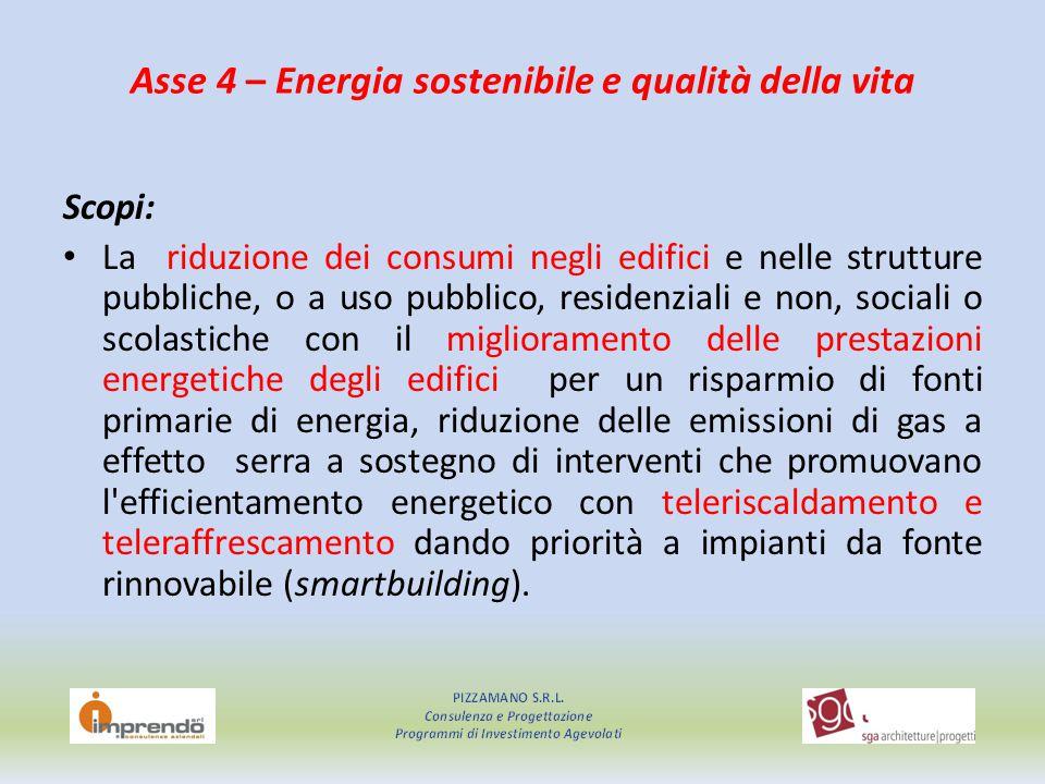 Asse 4 – Energia sostenibile e qualità della vita