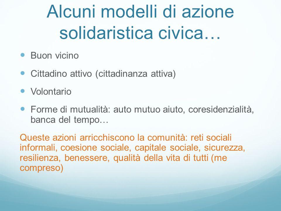 Alcuni modelli di azione solidaristica civica…