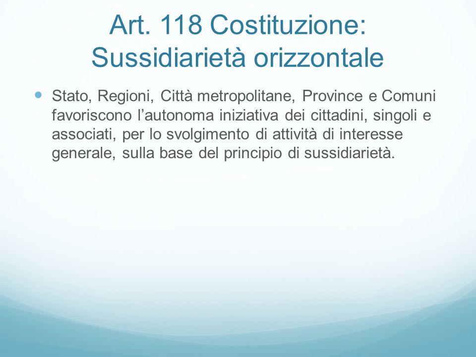 Art. 118 Costituzione: Sussidiarietà orizzontale