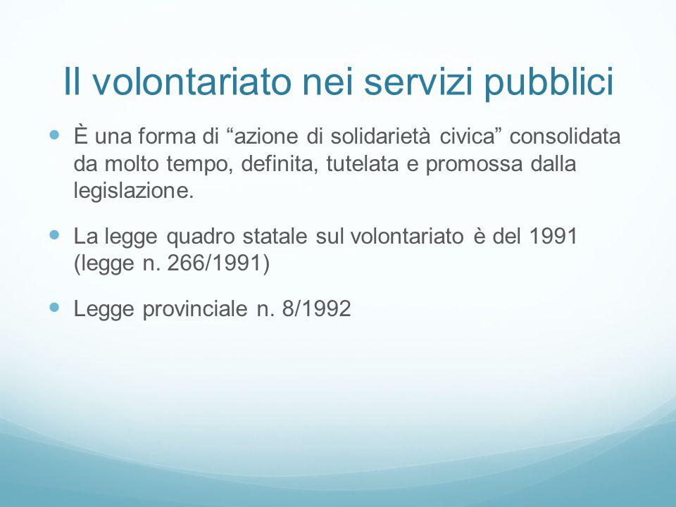 Il volontariato nei servizi pubblici