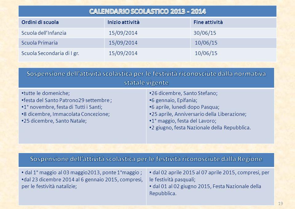 CALENDARIO SCOLASTICO 2013 - 2014