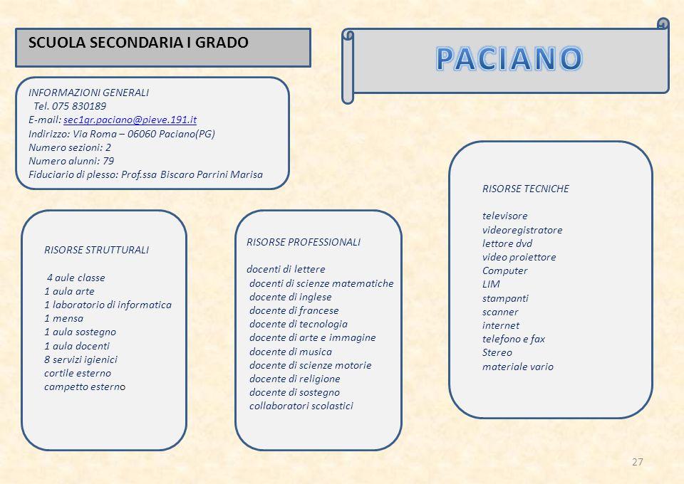 PACIANO SCUOLA SECONDARIA I GRADO INFORMAZIONI GENERALI
