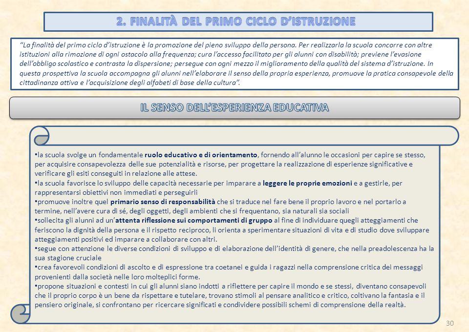 2. FINALITÀ DEL PRIMO CICLO D'ISTRUZIONE