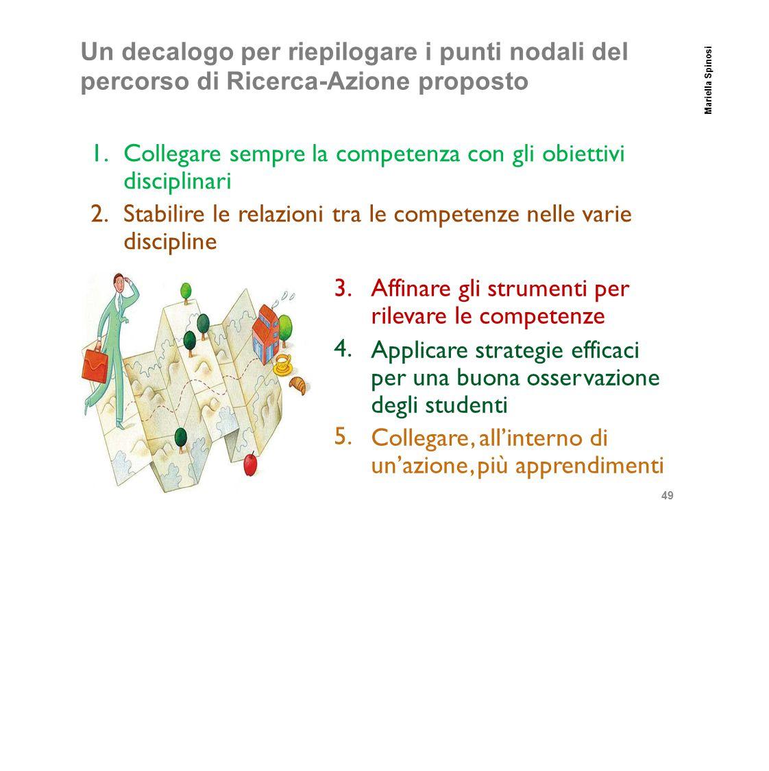 Collegare sempre la competenza con gli obiettivi disciplinari 2.