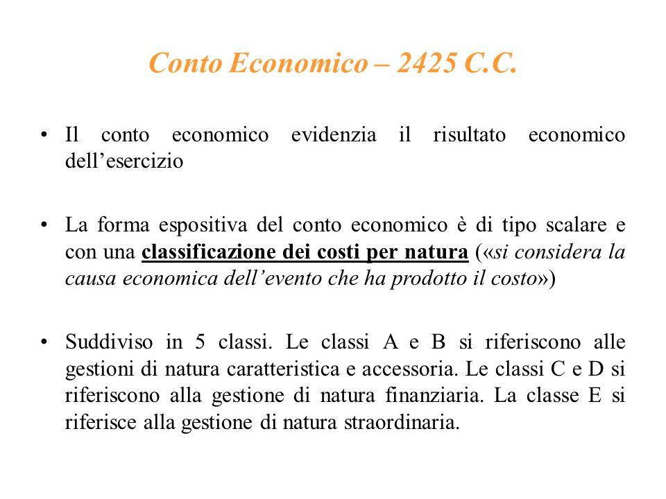 Conto Economico – 2425 C.C. Il conto economico evidenzia il risultato economico dell'esercizio.