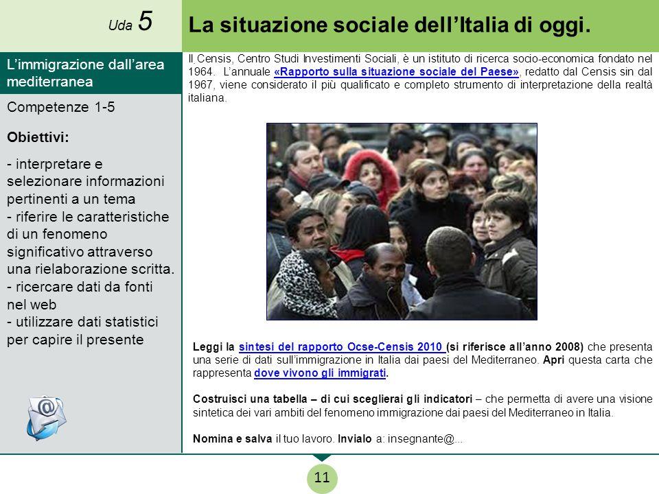 La situazione sociale dell'Italia di oggi.