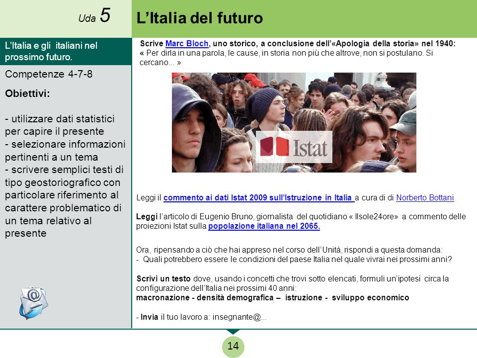 L'Italia del futuro 14 Competenze 4-7-8 Obiettivi: