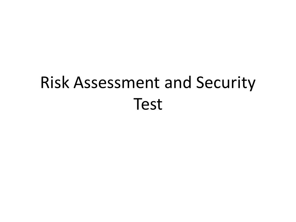 Risk Assessment and Security Test