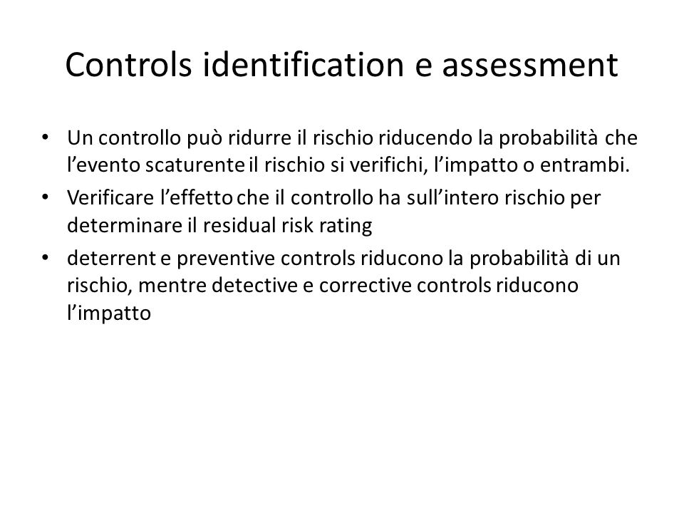 Controls identification e assessment