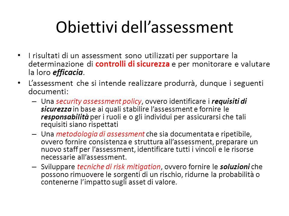Obiettivi dell'assessment
