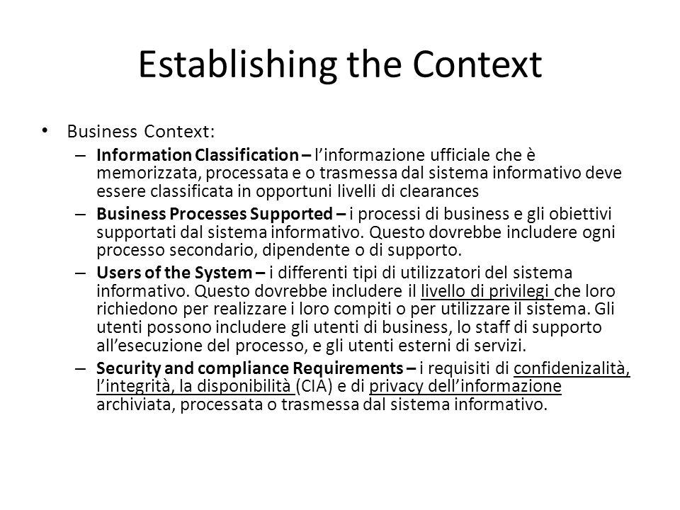 Establishing the Context