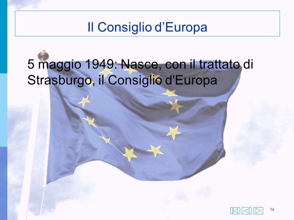 Il Consiglio d'Europa 5 maggio 1949: Nasce, con il trattato di Strasburgo, il Consiglio d Europa