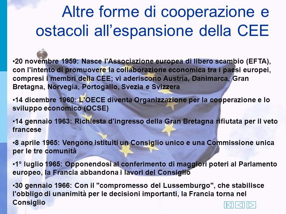 Altre forme di cooperazione e ostacoli all'espansione della CEE