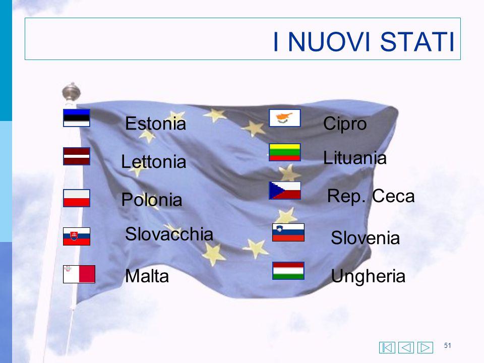 I NUOVI STATI Estonia Cipro Lituania Lettonia Rep. Ceca Polonia