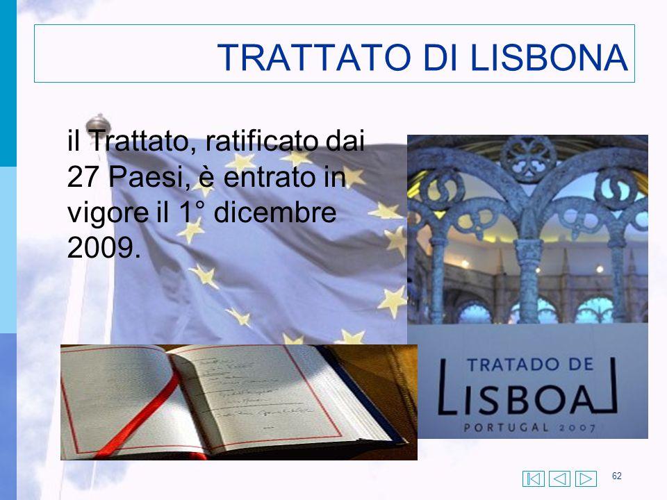 TRATTATO DI LISBONA il Trattato, ratificato dai 27 Paesi, è entrato in vigore il 1° dicembre 2009.