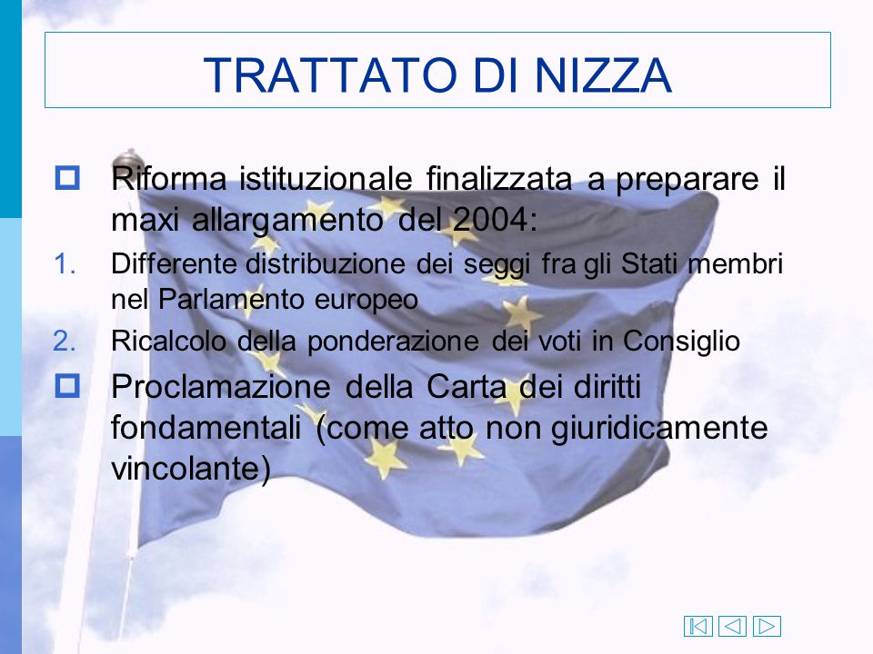 TRATTATO DI NIZZA Riforma istituzionale finalizzata a preparare il maxi allargamento del 2004: