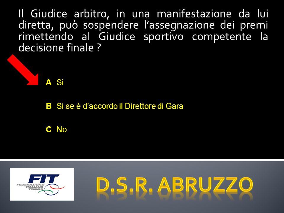Il Giudice arbitro, in una manifestazione da lui diretta, può sospendere l'assegnazione dei premi rimettendo al Giudice sportivo competente la decisione finale