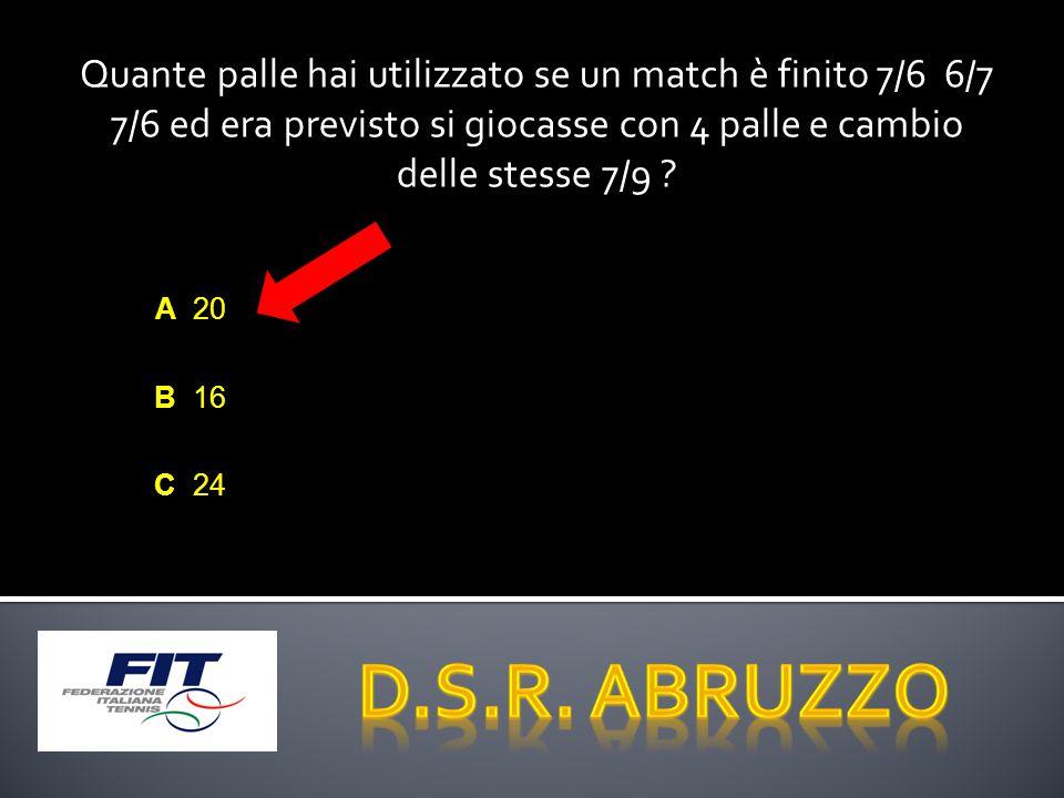 Quante palle hai utilizzato se un match è finito 7/6 6/7 7/6 ed era previsto si giocasse con 4 palle e cambio delle stesse 7/9