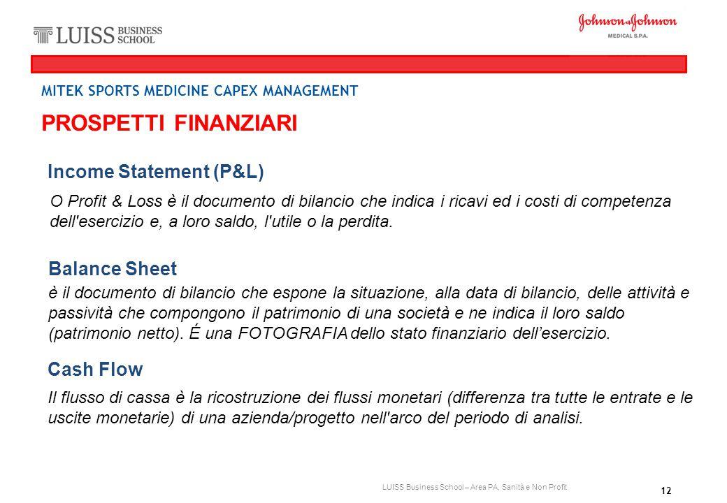 PROSPETTI FINANZIARI Income Statement (P&L) Balance Sheet Cash Flow