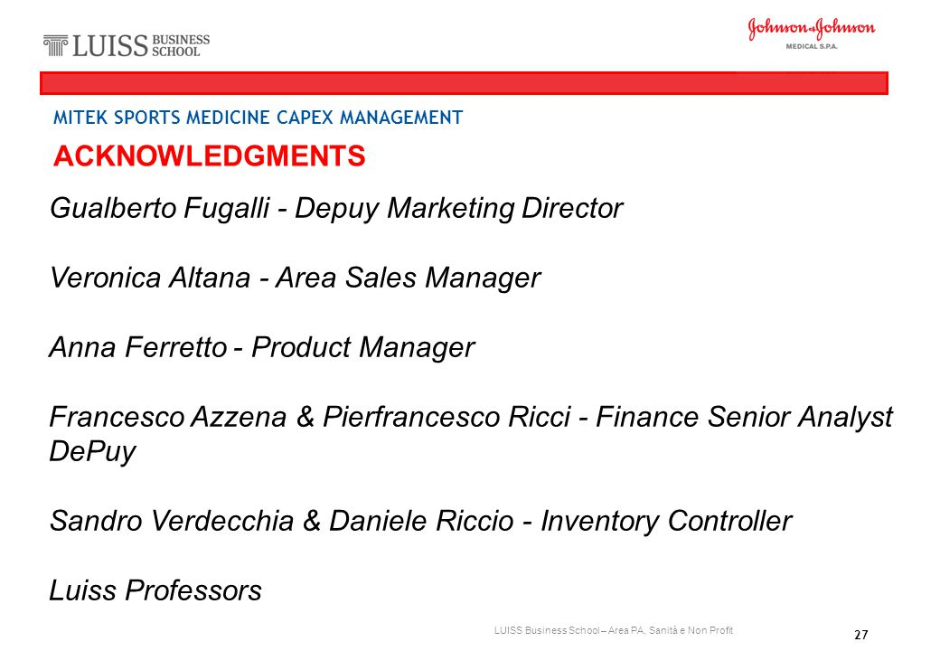 Gualberto Fugalli - Depuy Marketing Director