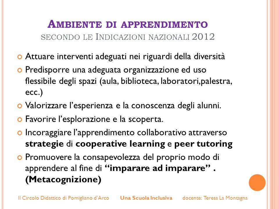 Ambiente di apprendimento secondo le Indicazioni nazionali 2012