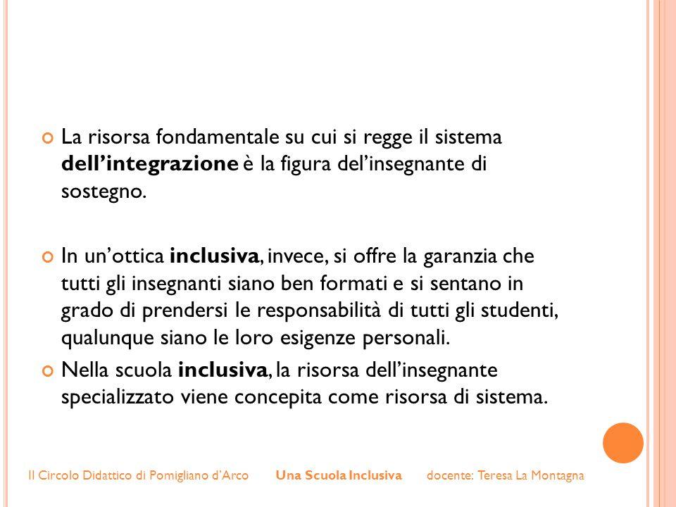 La risorsa fondamentale su cui si regge il sistema dell'integrazione è la figura del'insegnante di sostegno.