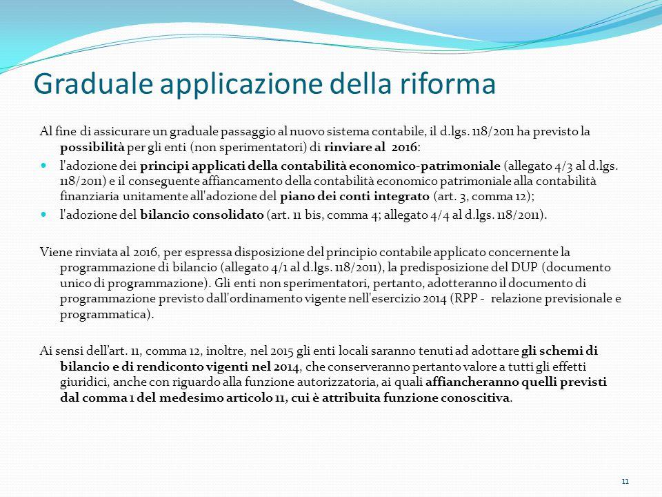 Graduale applicazione della riforma