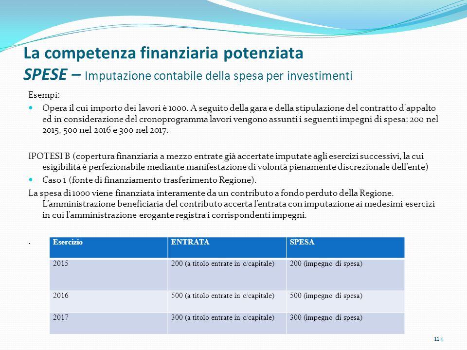 La competenza finanziaria potenziata SPESE – Imputazione contabile della spesa per investimenti