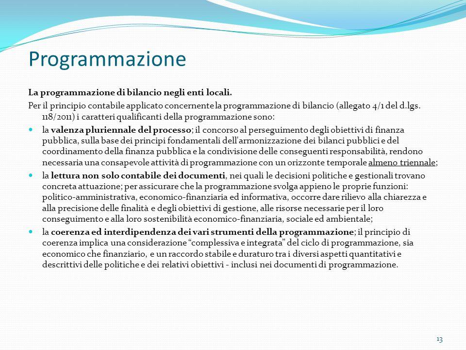 Programmazione La programmazione di bilancio negli enti locali.