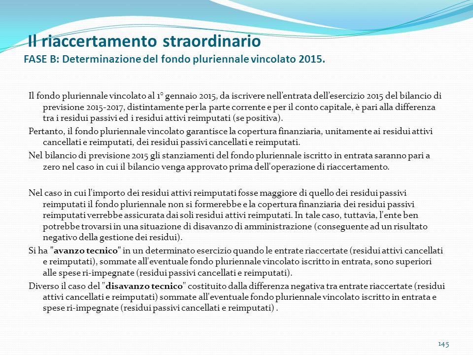 Il riaccertamento straordinario FASE B: Determinazione del fondo pluriennale vincolato 2015.