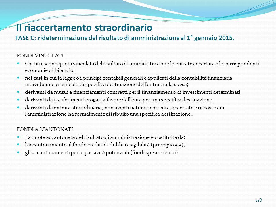 Il riaccertamento straordinario FASE C: rideterminazione del risultato di amministrazione al 1° gennaio 2015.